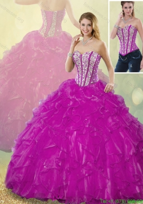2016 Latest Ball Gown Fuchsia Quinceanera Dresses with Beading