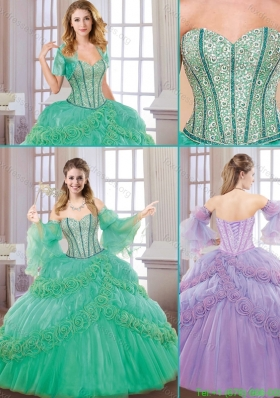 2016 Beautiful New Style Sweetheart Quinceanera Gowns with Hand Made Flowers
