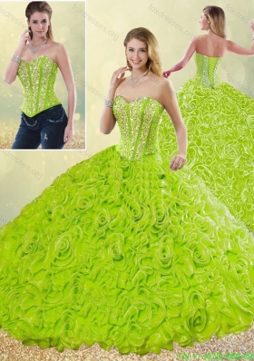 2016 Modest Rolling Flowers Quinceanera Gowns with Sweetheart