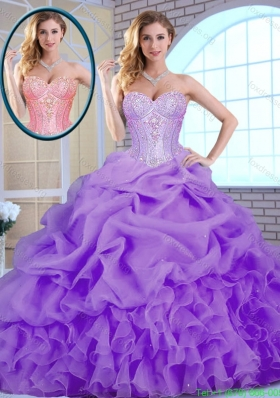 2016 Classical Beading and Ruffles Quinceanera Gowns in Lavender