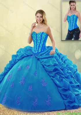 Popular Ball Gown Beading Sweet 16 Detachable Dresses with Pick Ups
