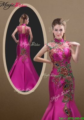 2016 New Style Mermaid Brush Train Prom Dresses with Appliques and Beading