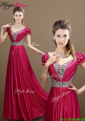 Pretty Empire V Neck Beading 2016 Prom Dresses with Short Sleeves