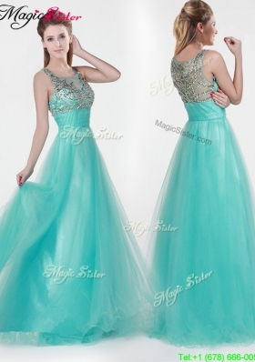 2016 Lovely Empire Scoop Beading Prom Dresses