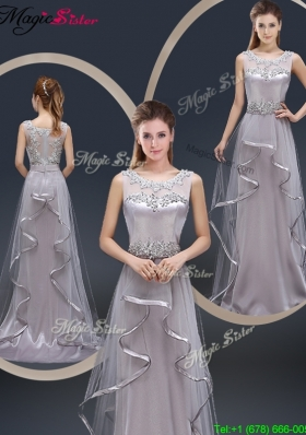 Exquisite Brush Train Scoop 2016 Prom Dresses with Appliques