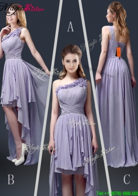 New Style One Shoulder High Low Ruffles Prom Dresses