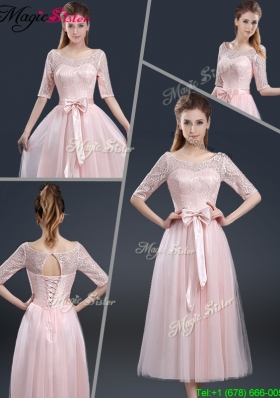 2016 Elegant Tea Length Prom Dresses with Lace and Bowknot