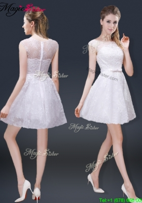 2016 Lovely Cap Sleeves Prom Dresses with with in Lace