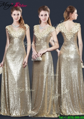 2016 Perfect V Neck Sequins Prom Dresses in Champagne