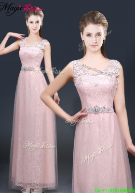 2016 Pretty Empire Scoop Prom Dresses with  Lace and Appliques