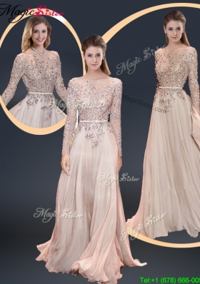 Cheap Brush Train Champagne 2016 Prom Dresses with Beading