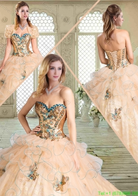 2016 Spring Lovely Sweetheart Quinceanera Gowns with Appliques and Ruffles