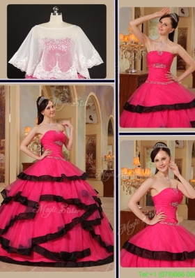 2016 Modest Ball Gown Strapless Quinceanera Gowns with Beading