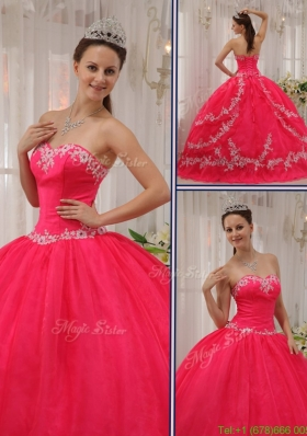 2016 New Style Coral Red Quinceanera Gowns with Appliques