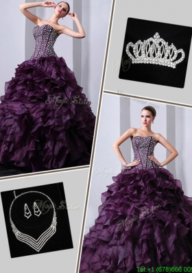 2016 New Arrivals Brush Train Beautiful Quinceanera Dresses with Beading and Ruffles