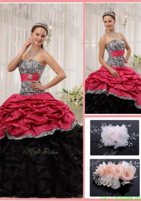 2016 Romantic Sweetheart Zebra Quinceanera Gowns with Ruffles
