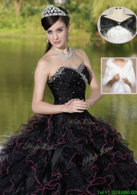 2016 Modest Ruffles Layered and Beading Cute Quinceanera Dresses in Black