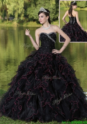 Fashionable Ruffles Layered and Beading New Style Quinceanera Gowns in Black