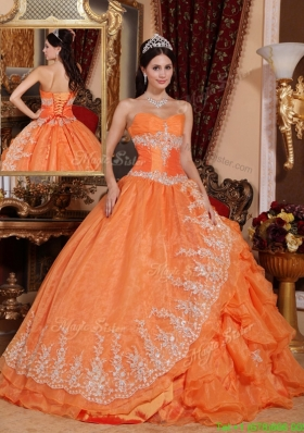 Gorgeous Orange Red Ball Gown Floor Length New Style Quinceanera Dresses