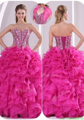 Popular Ruffles and Beading New Style Quinceanera Gowns in Fuchsia