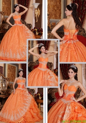 2016 Latest Beading and Appliques Quinceanera Gowns in Orange Red