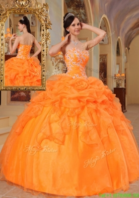 2016 New Style Orange Red Ball Gown Sweetheart Quinceanera Dresses
