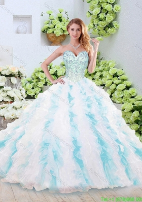 Cheap Brush Train Quinceanera Gowns with Beading and Ruffles