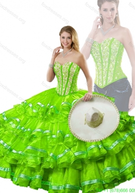 Pretty Spring Green Detachable Sweet 16 Dresses with Beading and Ruffled Layers