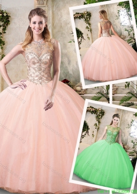 2016 Modest Bateau Peach Quinceanera Dresses with Beading