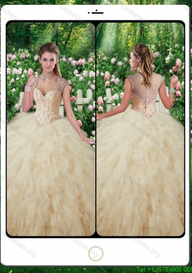 2016 cheap Quinceanera Gowns with Beading and Ruffles in Champange