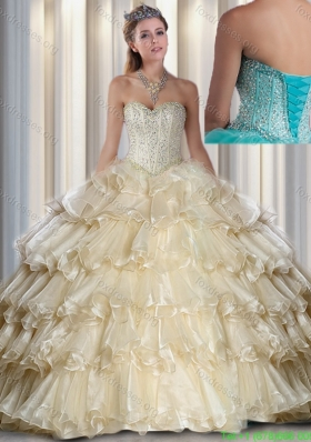 2016 Cheap Champagne Sweetheart Beading and Ruffled Layers Quinceanera Dresses