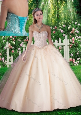 2016 Champagne Simple Beading Quinceanera Dresses for 16 brithday Party