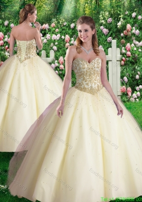 2016 Pretty Champagne Ball Gown Sweetheart Quinceanera Dresses