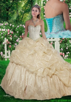 2016 Pretty Champagne Brush Train Beading Quinceanera Dresses