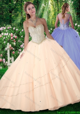 2016 Pretty Champagne Puffy Sweetheart Beading Quinceanera Gowns