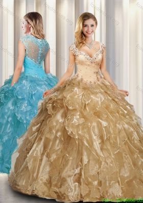 Pretty Champagne A Line Cap Sleeves Quinceanera Dresses with Beading