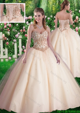 2016 Simple Ball Gowns Sweetheart Appliques Champagne Sweet 16 Dresses