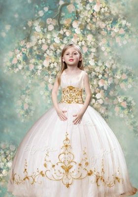 Perfect Ball Gown Scoop Pretty Little Girl Pageant Dresses  in White and Gold