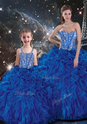 Wonderful Ball Gown Princesita With Quinceanera Dresses with Beading and Ruffles in Blue for Fall