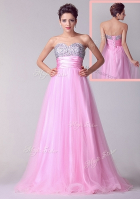 Lovely A Line Brush Train Rose Pink Prom Dresses with Beading for 2016 Spring