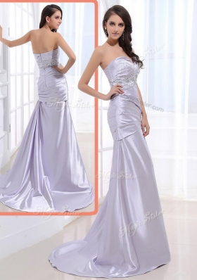 Luxurious Column Sweetheart Prom Dresses with Beading and Ruching