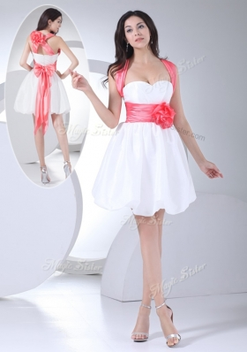 Cheap Straps Hand Made Flowers Short Prom Dress in White