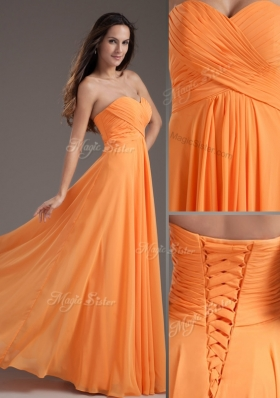 Low Price Sweetheart Floor Length Ruching Junior Prom Dress in Orange for 2016