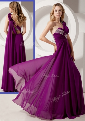Luxurious One Shoulder Hand Made Flowers Prom Dresses with Beading