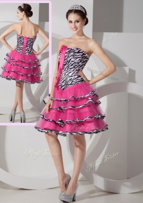 New Style Sweetheart Leopard and Ruffled Layers Prom Dresses