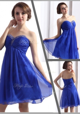 Perfect Sweetheart Beading Short  Junior Prom Dresses in Blue for 2016