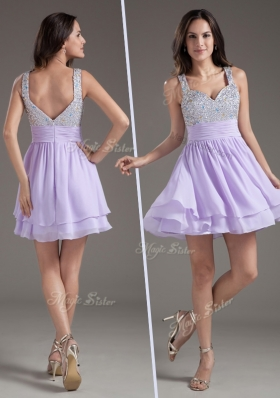 Simple Straps Mini Length Lavender Prom Dress with Beading