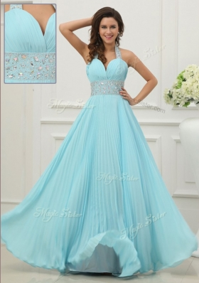 Beautiful 2016 Fashionable Halter Top Prom Dress with Beading and Paillette