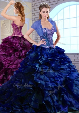 Perfect Brush Train Ruffles and Appliques Quinceanera Dresses in Royal Blue