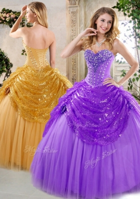New Style Ball Gown Beading and Paillette Quinceanera Dresses for Fall  for 2016